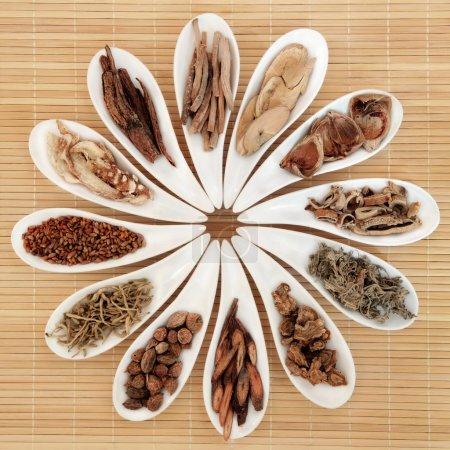 Photo pour Sélection de plantes médicinales chinoises dans des plats en porcelaine blanche sur fond de bambou . - image libre de droit