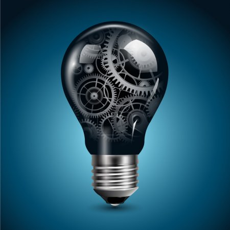 Illustration for Light bulb with gears inside, vector. - Royalty Free Image