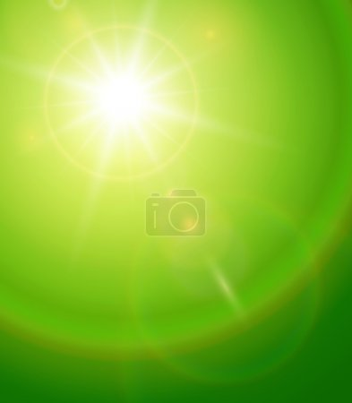 Illustration for Natural background with vector sun and lens flare. - Royalty Free Image