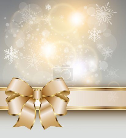Illustration for Abstract christmas background with elegant gold banner, snowflakes and a bow, vector. - Royalty Free Image