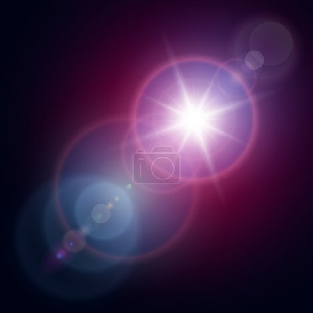 Illustration for Vector star, sun with lens flare. - Royalty Free Image