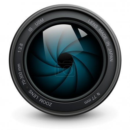 Illustration for Camera photo lens with shutter. - Royalty Free Image