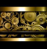 Technology background gold metallic gears and golden cogwheels vector