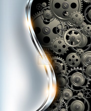 Illustration for Abstract background metallic chrome silver with gears, vector. - Royalty Free Image