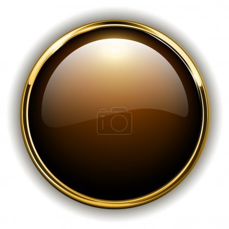 Illustration for Gold button shiny metallic, vector illustration - Royalty Free Image