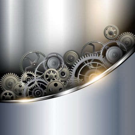 Illustration for Background metallic with technology gears, vector illustration. - Royalty Free Image