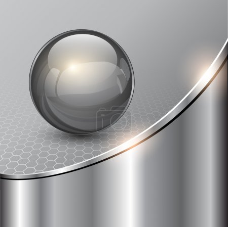 Illustration for Metallic background with glass sphere, vector 3D illustration.. - Royalty Free Image