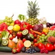 Fruits and vegetables like tomatoes, zucchini, mel...