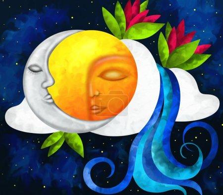 Photo pour Abstrait avec le soleil et la lune - image libre de droit