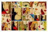 ženské tváře abstrakt
