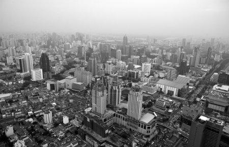 Photo pour Bangkok ville de vue d'oiseau noir et blanc - image libre de droit