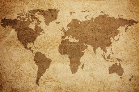 Photo pour Fond de texture carte monde antique - image libre de droit