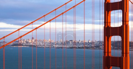 San Francisco sunset panorama through the Golden G...