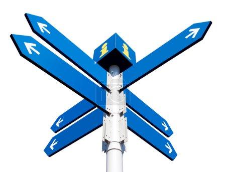Photo pour Panneaux routiers directionnels vierges isolés sur blanc - image libre de droit