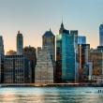 Manhattan. Evening New York City skyline panorama...