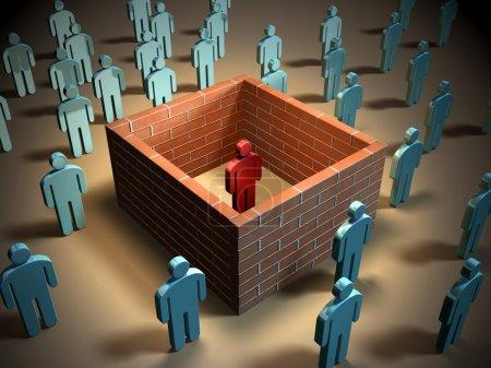 Photo pour Certains murs de brique isolent une personne différente des autres. illustration numérique. - image libre de droit