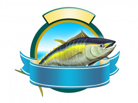 Yellow-fin tuna label, copy space available to ins...