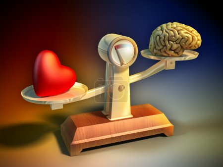 Photo for Heart and brain on a balance scale. Digital illustration. - Royalty Free Image