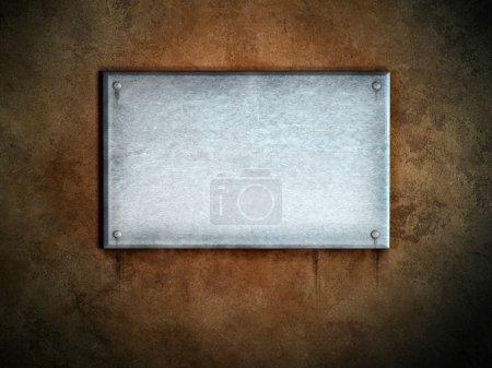Photo pour Plaque métallique sur fond de béton. Illustration numérique . - image libre de droit