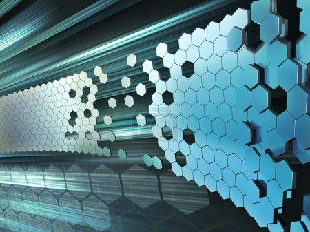 Photo pour Formes hexagonales formant un mur sur un fond de haute technologie. Illustration numérique . - image libre de droit