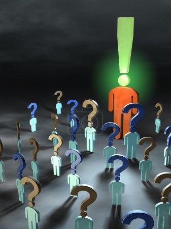 Photo pour Avec des questions se rencontrent autour d'une personne avec des réponses. Illustration numérique . - image libre de droit