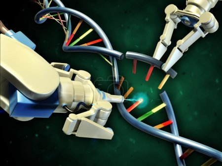 Photo for Two robotic arms modifying a dna helix. Digital illustration. - Royalty Free Image