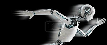 Photo pour Robot android hommes fonctionnant avec vitesse ombre concept de vitesse - image libre de droit