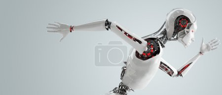 Photo for Robot android woman running speed concept - Royalty Free Image
