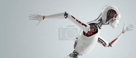 Photo pour Femme d'android robot exécute la notion de vitesse - image libre de droit