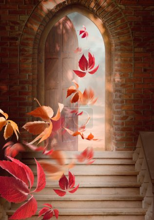 Photo for Autumn leaves fall through the open door. - Royalty Free Image
