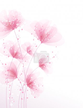 Vector background with pink delicate flowers
