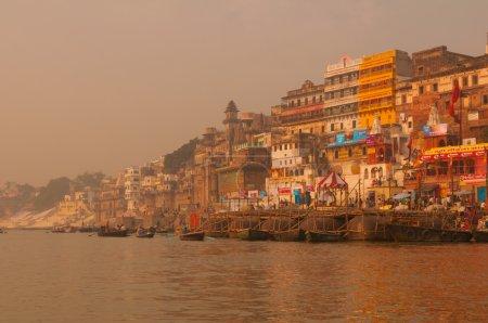 Ghats in ancient city of Varanasi, India...