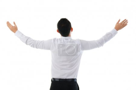 Smart Chinese Asian business man success from the back view , is