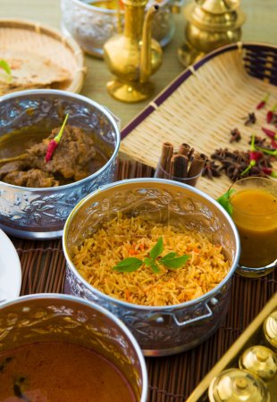 Indian meal with curry and biryani