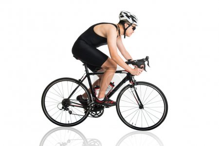 Male triathlete on  bicycle race