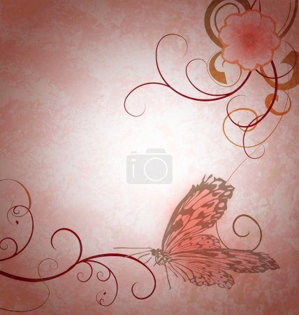 Photo for Light pink grunge background with cosmos background and detailed butterfly - Royalty Free Image