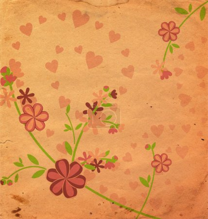 Photo for Vintage style flowers illustration pink old paper - Royalty Free Image
