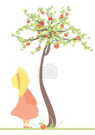 child and apple tree