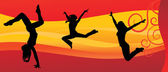 Red night girl dancer cool vector on red waves background