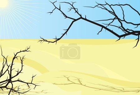 Vector illustration of desert sand, black dry trees brunches and sunlight in clear sky