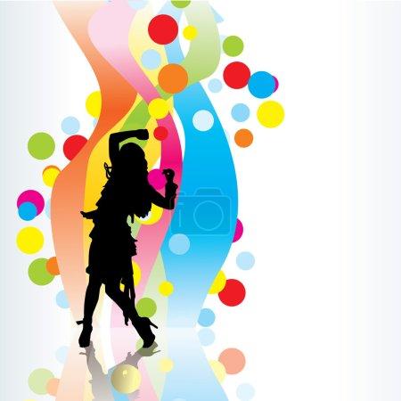 Dancing girl silhouette grunge flowers textured
