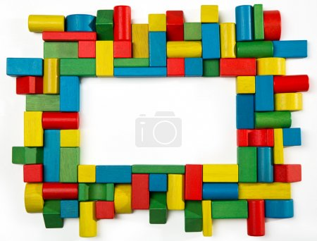 Toys blocks frame, multicolor wooden building bricks, group of colorful game piece