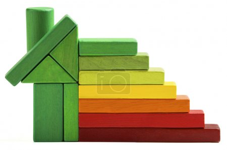 Foto de Energía casa índice de eficiencia, casa verde guardar el calor y la ecología. bloques de juguete aislados de fondo blanco - Imagen libre de derechos