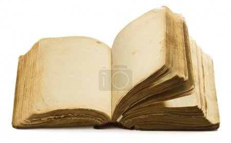 Photo for Book open old blank pages, empty yellow paper isolated over white background - Royalty Free Image
