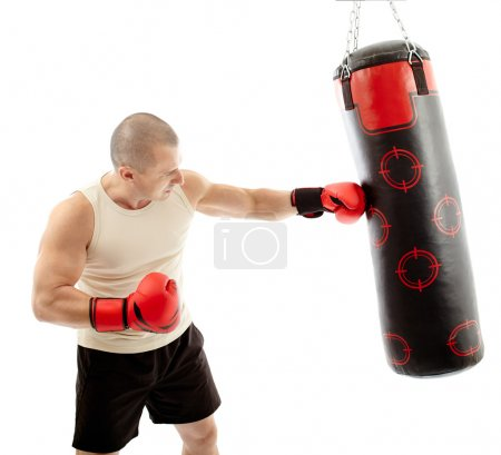 Boxer hitting the punching bag