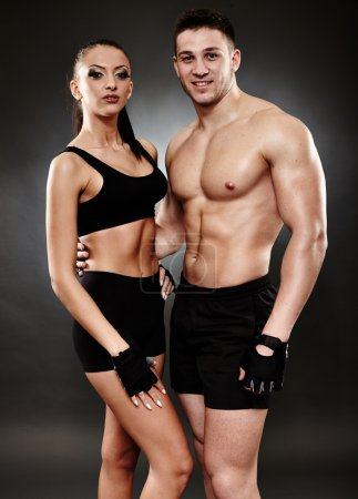 Young athletic couple in sportswear