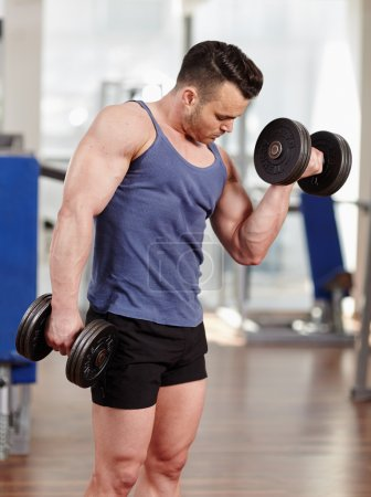 Photo for Young man doing biceps workout with dumbbells, in a modern gym - Royalty Free Image