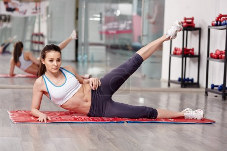 Woman working lateral abs