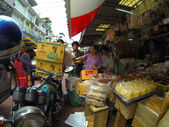 People trade at the  street market in bangkok