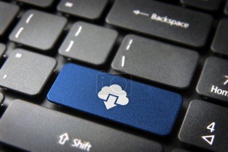 Blue cloud computing keyboard key, technology background